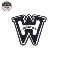 China W Letter 3D DIY Chenille Patch , Small Iron On Patches Cutomized Shape wholesale