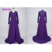 China Women Purple Mother Of The Bride Formal Gowns , Cloak Plus Size Mother Of The Bride Gowns wholesale