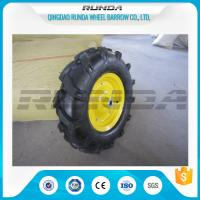 China 16inches Heavy Duty Rubber Wheels Yellow Color Lug Pattern Enamel Finish 6PR wholesale