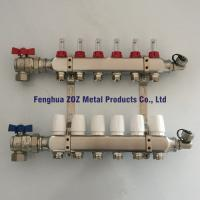 China Stainless Steel 6 Port Underfloor Heating Manifold with Fill/drain Valves wholesale