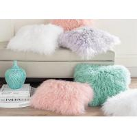 China Retangular Single Sided Mongolian Fur Pillow Zipper Closure For Home Textile Sofa on sale