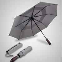 China Double Canopy Layer Automatic Open And Close Compact UmbrellaVented Grey Color wholesale