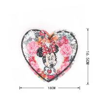 China Heart Shape Reverse Sequin Patch / Minnie Mouse Sew On Patch OEM Design wholesale