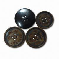 Quality 36L Real Horn Buttons with Burning Effect, Customized Designs and Logos are for sale