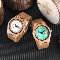 China wooden watch box band leather no waterproof green marble dial wood watches wholesale