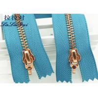 China Metal Double Sided Rose Gold Zipper And Double Sliders Zipper As Decorative Zipper wholesale