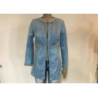 China Casual Style Ladies Suede Jackets , Studs Decorated Ladies Pu Leather Jackets wholesale