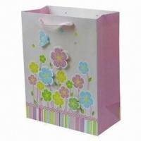 China Fresh Printed Delicately Flower Pink Colorful Printing Hnadle Paper Bag for Gift on sale