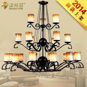 China Wrought Iron Pendant Bordeaux Large Hotel Chandeliers Lighting for Bedroom / Corridor wholesale