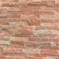 China Peach Pink Quartzite Ledge Wall Stone Cladding For Fireplaces Or Planter Walls wholesale