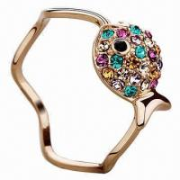 China Rose gold ring, rainbow crystal gemstone setting, cute fish-shaped setted with various zircon wholesale