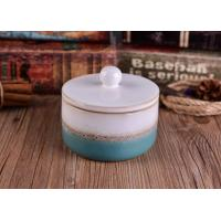 Heat Durable Ceramic Candle Container Sets With Lid , Hand Made Craft