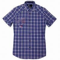China Men's Shirt with Detailed Embroidery to the Left Chest, Garment Soft Wash on sale
