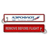 China Aeroflot Russian Airlines Tag Keychain Keyring Remove Before Flight Fabric Embroidery Pilot Key Chains on sale