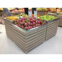 China supermarket wooden produce bin with stainless steel tray wholesale