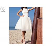 China Off White Short Fitted Wedding Dress Sleeveless Top Satin Tulle Hems Back Zipper on sale