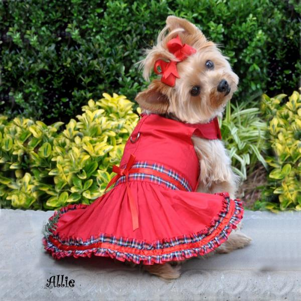 tartan plaid small breed dog clothes dress for girl yorkie chihuahua