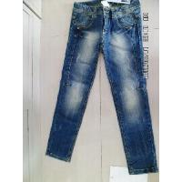 China Girl Denim Pants with Whiskers and Marble Effect wholesale