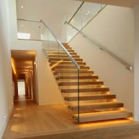 China Floating Granite Straight Flight Staircase 12mm Glass Railing Customized Size wholesale