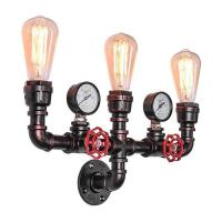 China Indoor E26 / E27 Filament Wall Lights Three - Head Water Pipe Wall Lamp on sale