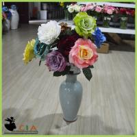 China Bulk Sell  Artificial Silk Rose Bouquet Artificial French Rose for Interior Decoration wholesale