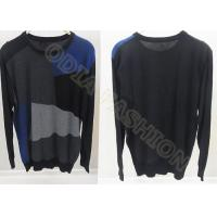 China Fashion Scoop Neck Mens Wool Sweaters for Autumn , Four Tones Color Block Design wholesale