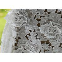 China White Water Woluble French Cotton Guipure Lace Fabric With 3D Flower Design wholesale
