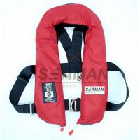 China EC / MED Approval 150N Orange Red Double Air Chamber Inflatable Life Jacket With Harness wholesale