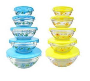 China decal logo glass mixing bowl set wholesale