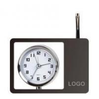 China wood office chrome clock with pen holder wholesale