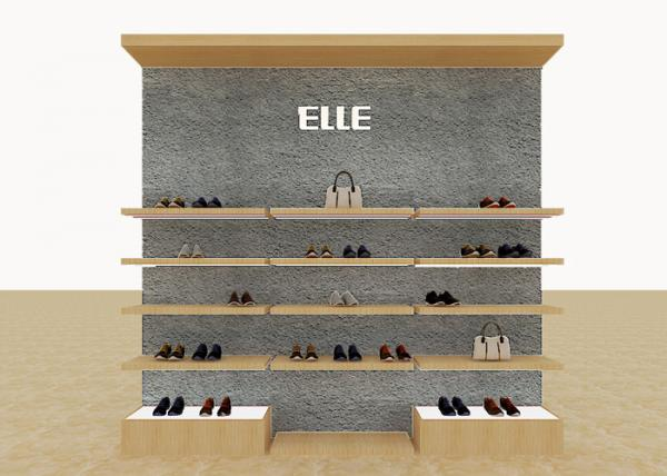 Quality Mix Version Men's Shoe Shop Display Stands Wooden Shelves With Custom LOGO for sale