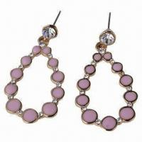 China Jewelry Hoop Earrings with Rhinestone for Pretty Women's and Girls wholesale