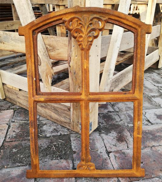 Quality Small French Cast Iron Metal Window Frame Mirror / Vintage Window Mirror for sale