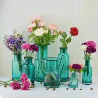 China Flower Bottle Decorative Glass Vases Blue Transparent OEM With Custom Logo wholesale