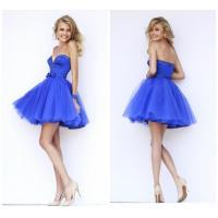 China Beaded Satin Sweetheart Girls Homecoming Dresses with Open Back / Bow Waistband wholesale