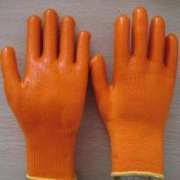 China 7G acrylic shell napping liner pvc coated safety glove on sale