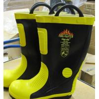 China Firefighting Unit Rubber Fireman Safety Boot With Steel Cap And Sole wholesale