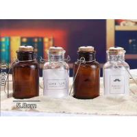 China Cork And Iron Handle Glass Candle Jars For Light Bulb / Brown Glass Container wholesale