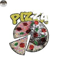 China Handmade Sequin Embroidery Patches For Garments , Clothes Pizza Style wholesale