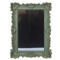 China Large Green Baroque Resin Wall Mirror Floral Scalloped Leaf Scrolls Vintage wholesale