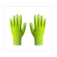 China 13 Gauge Green Decorating Rubber Coated Work Gloves on sale