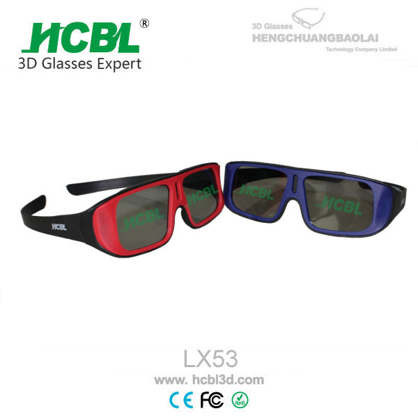 Quality Unfolded ABS Frame Reald 3D Glasses Red With 0. 26 ~ 0.4 mm Thickenss Filter Lens for sale