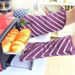 China Produits essentiels imprimés rayés pourpres de ménage de gants de four de cuisine de coton wholesale