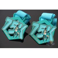 China Race 75K Marathon Custom Metal Sports Medals Spray Pontan Colors  With Printing Ribbon wholesale