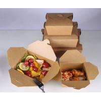 China Brown Kraft Paper Takeout Lunch Containers Box,Eco friendly food grade disposable kraft paper lunch box bagease package wholesale
