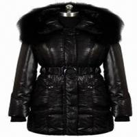 China Ladies' down coat, imitation memory fabric, large real fur hood strip, real leather sleeve on sale