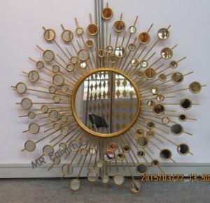 China Round Metal Mirror Wall Decor Sunburst Style 37 Inch Diameter Metal Wire Frame wholesale