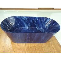 China 1700mm length ovel acrylic blue marble color freestanding bath tub with center drainer on sale