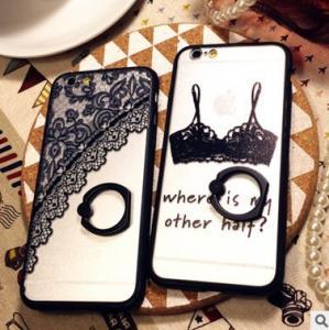 Buy cheap Cajas negras de las cubiertas de los teléfonos celulares del cordón de la personalidad pintadas con iPhone 6 del tenedor del soporte from wholesalers