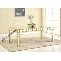 China Mirrored Glass Top Rectangle Dining Table , 82 Inch Glass Top Kitchen Table Sets wholesale